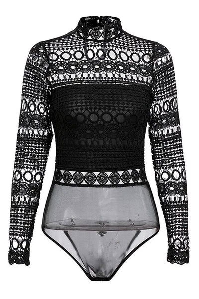 Hollow Out High Neck Long Sleeve Black Lace