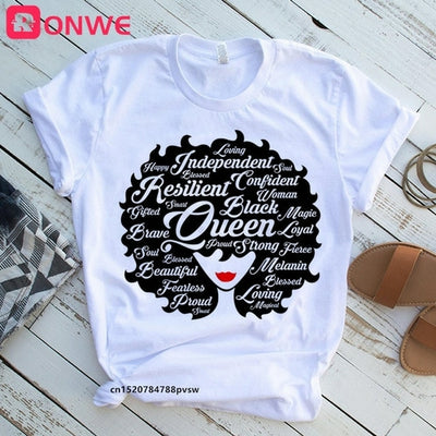 I Am A Strong Melanin Queen t shirt Women Clothes African Black Girl