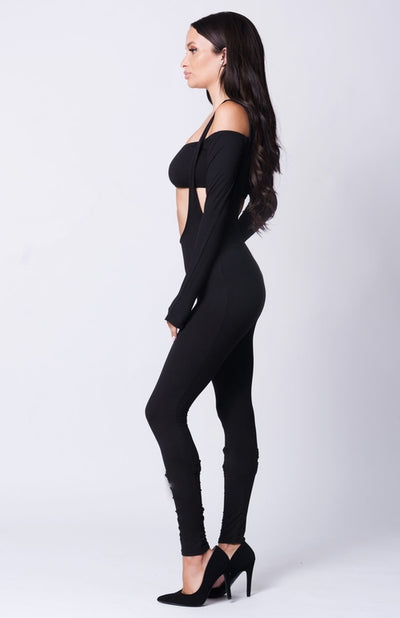 OFF SHOULDER CROP SOLID JUMPSUIT