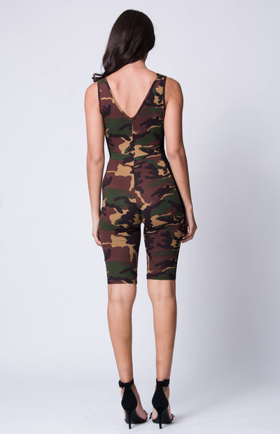 MESH PANEL ARMY PRINT JUMPSUIT