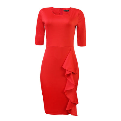 Sexy Dress Women Autumn Winter O-Neck Casual 3/4