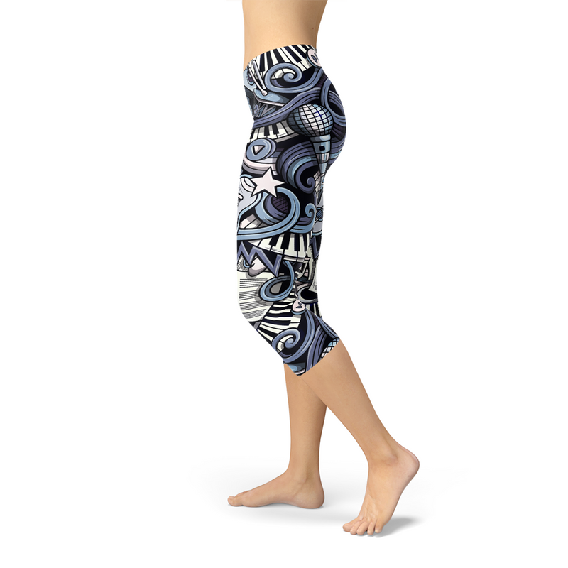 Womens Music Blue Capri Leggings