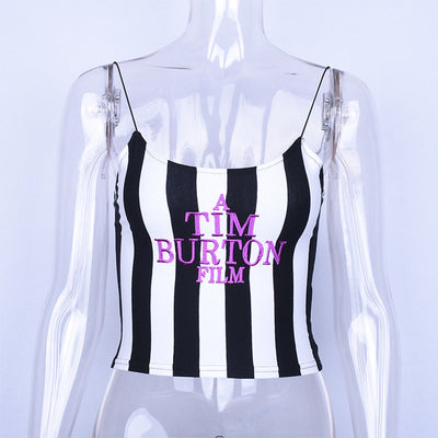 Tim Burton Letter Embroideryy Crop Top