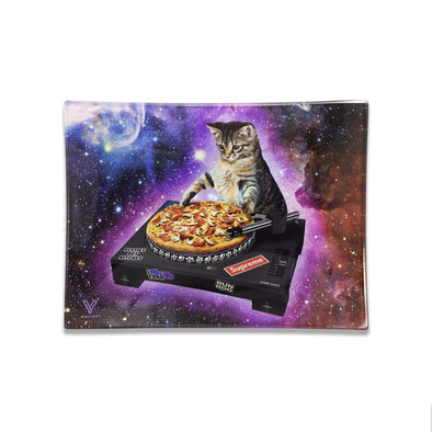Cosmic Cat Glass Rolling Tray