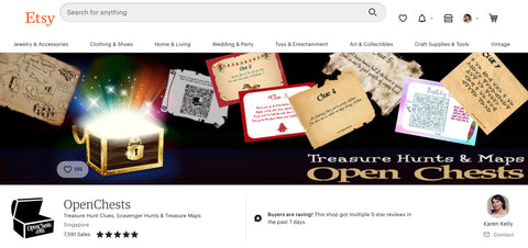 openchests editable treasure hunt clues etsy shop