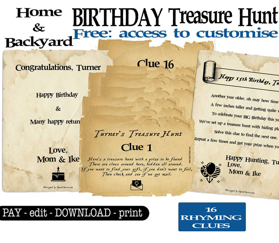 Home & Backyard Birthday Treasure Hunt. Scavenger Hunt Clues - Open Chests