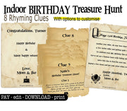 Indoor Birthday Treasure Hunt - customisable for any home - Open Chests