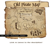 Pirate Map Printable PDF - Customisable download - Open Chests
