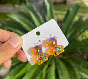 Orange Clip-On Gummy Earrings