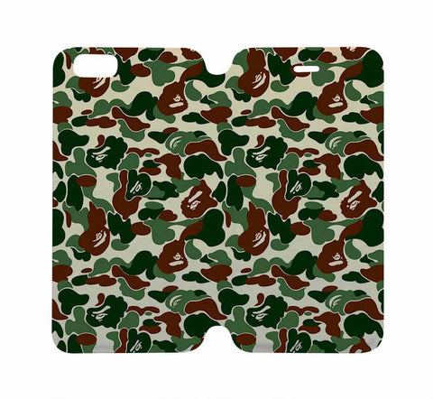 BAPE APE CAMO Wallet Case for iPhone 4/4S 5/5S/SE 5C 6/6S Plus Samsung Galaxy S4 S5 S6 Edge Note 3 4 5