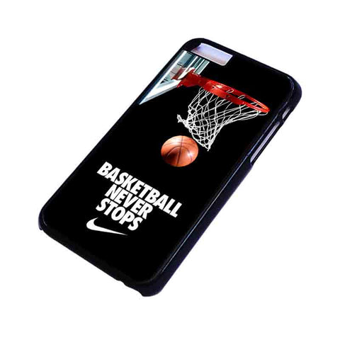 BASKETBALL NEVER STOPS iPhone 4/4S 5/5S/SE 5C 6/6S 7 8 Plus X Case Cover
