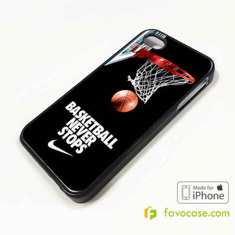 BASKETBALL NEVER STOPS NBA iPhone 4/4S 5/5S/SE 5C 6/6S 7 8 Plus X Case Cover