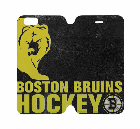 BOSTON BRUINS Hockey Wallet Case for iPhone 4/4S 5/5S/SE 5C 6/6S Plus Samsung Galaxy S4 S5 S6 Edge Note 3 4 5