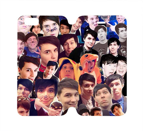 dan-and-phil-collage-wallet-flip-case-iphone-4-4s-5-5s-5c-6-6s-plus-samsung-galaxy-s4-s5-s6-edge-note-3-4