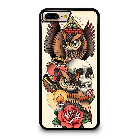 OWL STEAMPUNK ILLUMINATI TATTOO iPhone 4/4S 5/5S/SE 5C 6/6S 7 8 Plus X Case Cover