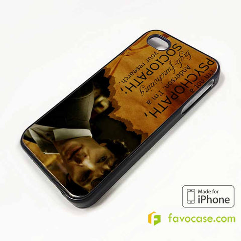 SHERLOCK HOLMES PSYCHOPATH iPhone 4/4S 5/5S/SE 5C 6/6S 7 8 Plus X Case Cover