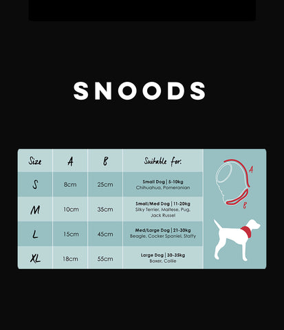 snoods size chart - Aus Pet Accessories