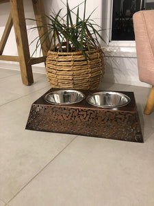 Filigree Elevated Double Dog Bowl By Barkley & Bella-raised dog bowl-Aus Pet Accessories