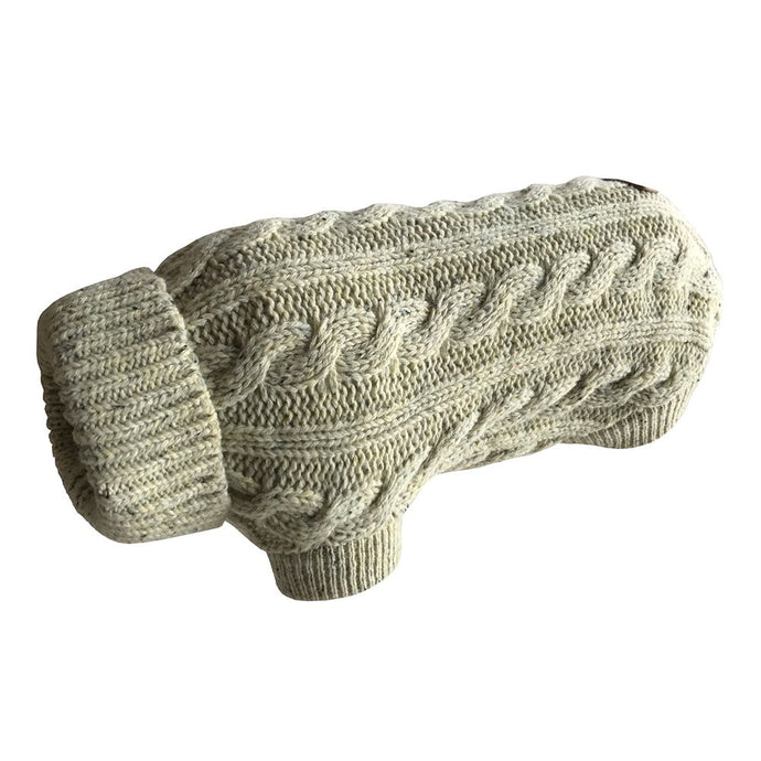 Huskimo Cable Knit Dog Jumper - Oatmeal-dog jumper-Aus Pet Accessories