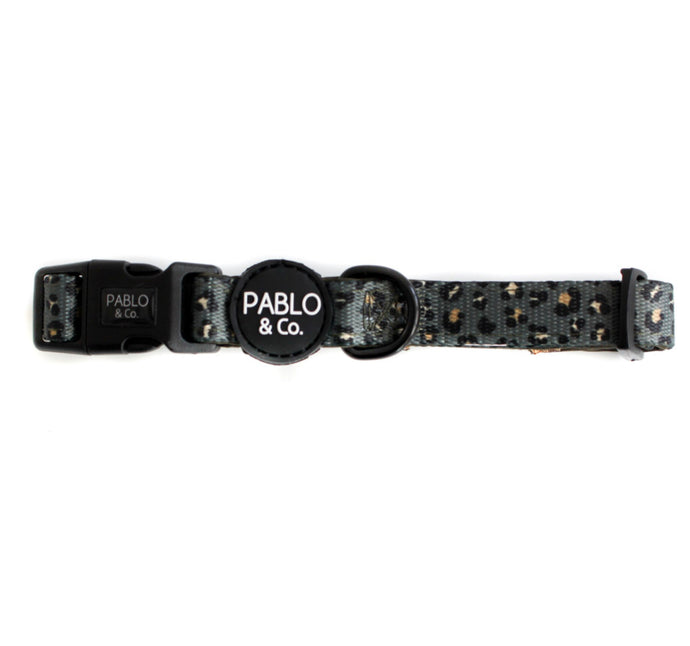 Khaki Leopard Dog Collar - Pablo & Co-dog collar-Aus Pet Accessories