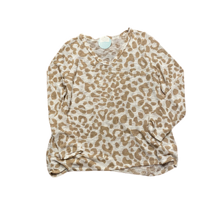 LEOPARD U NECK TOP