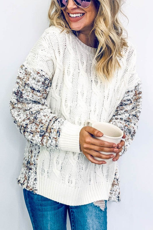 PLAID PRINTED DETAIL BACK SWEATER