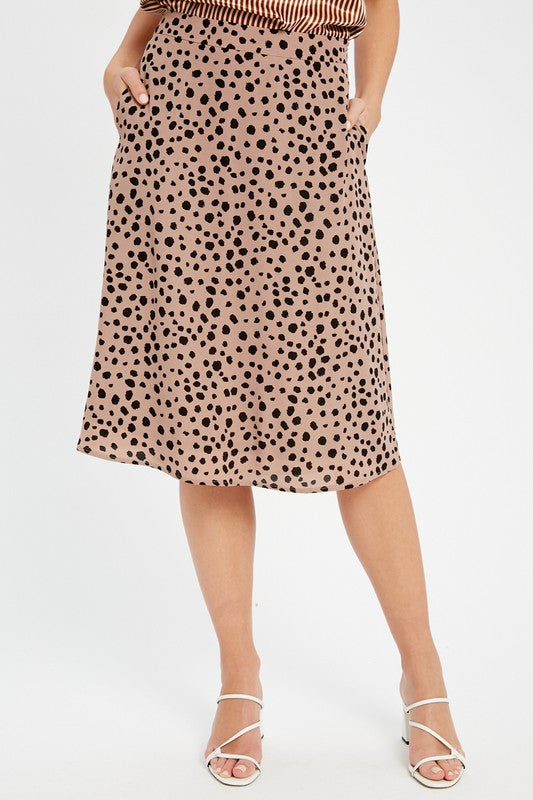 LEOPARD ANIMAL PRINTED MIDI SKIRT