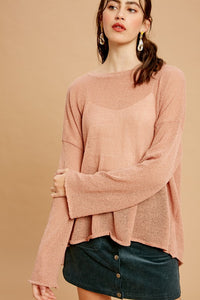 LIGHTWEIGHT BACK HEM TIE PULLOVER SWEATER