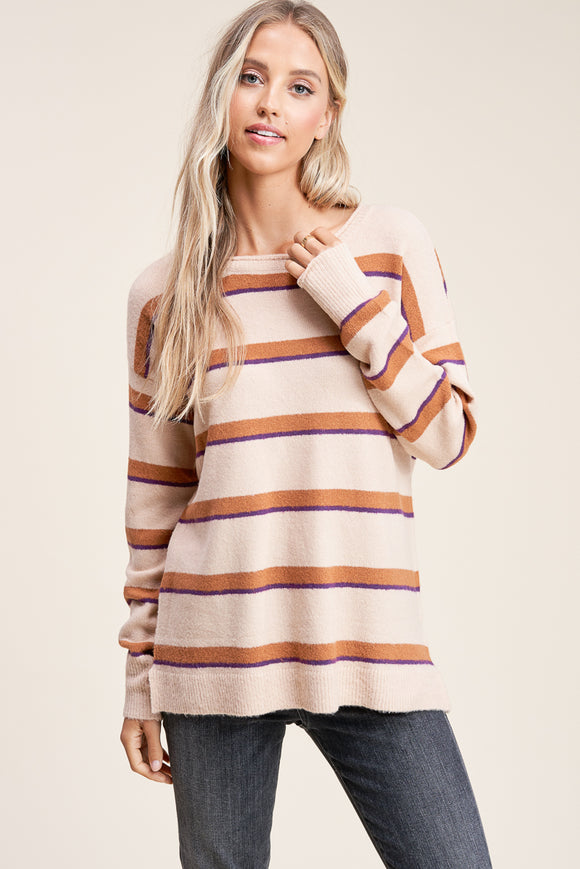 CREW NECK STRIPE SWEATER