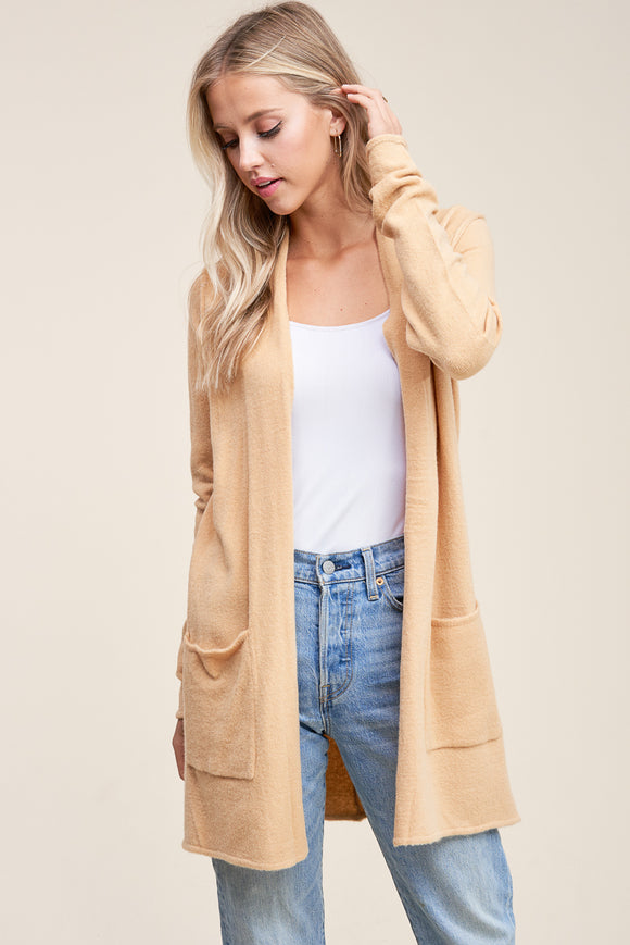 LONG SLEEVE FUZZY CARDIGAN