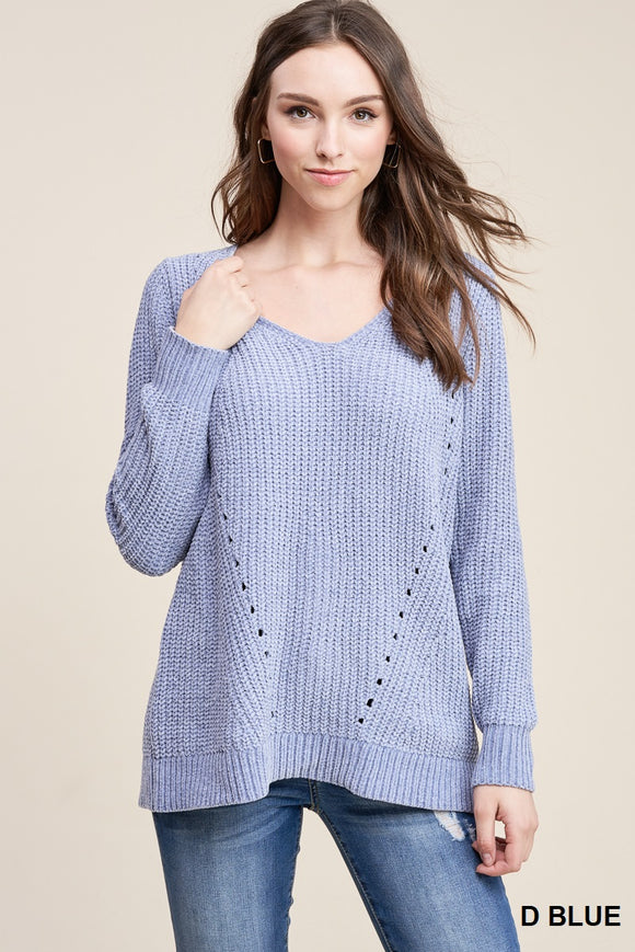 V NECK CHENILLE PULLOVER SWEATER