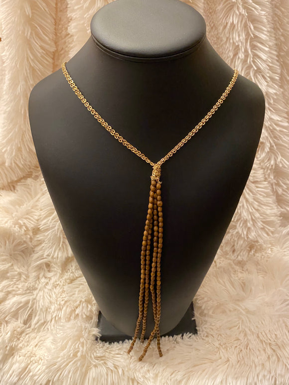 28 IN GOLD DOUBLE CHAINED W TASSEL
