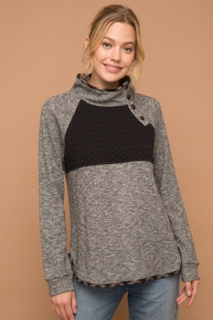 QUILTED ASSYMETRICAL TERRY PULLOVER