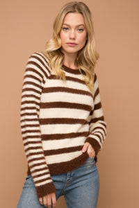MIXED STRIPE ROUND NECK SWEATER