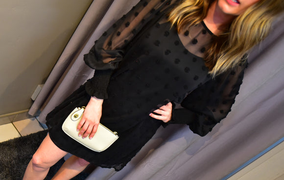 SHEER PUFF SLEEVE SWISS DOT DRESS