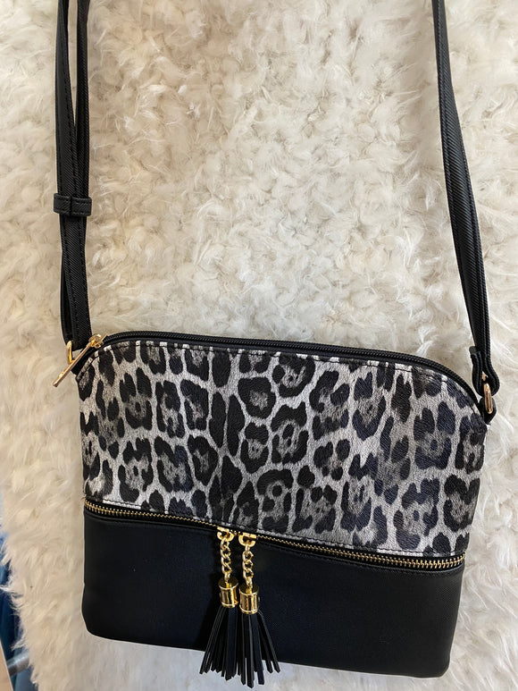 BLACK LEOPARD PURSE