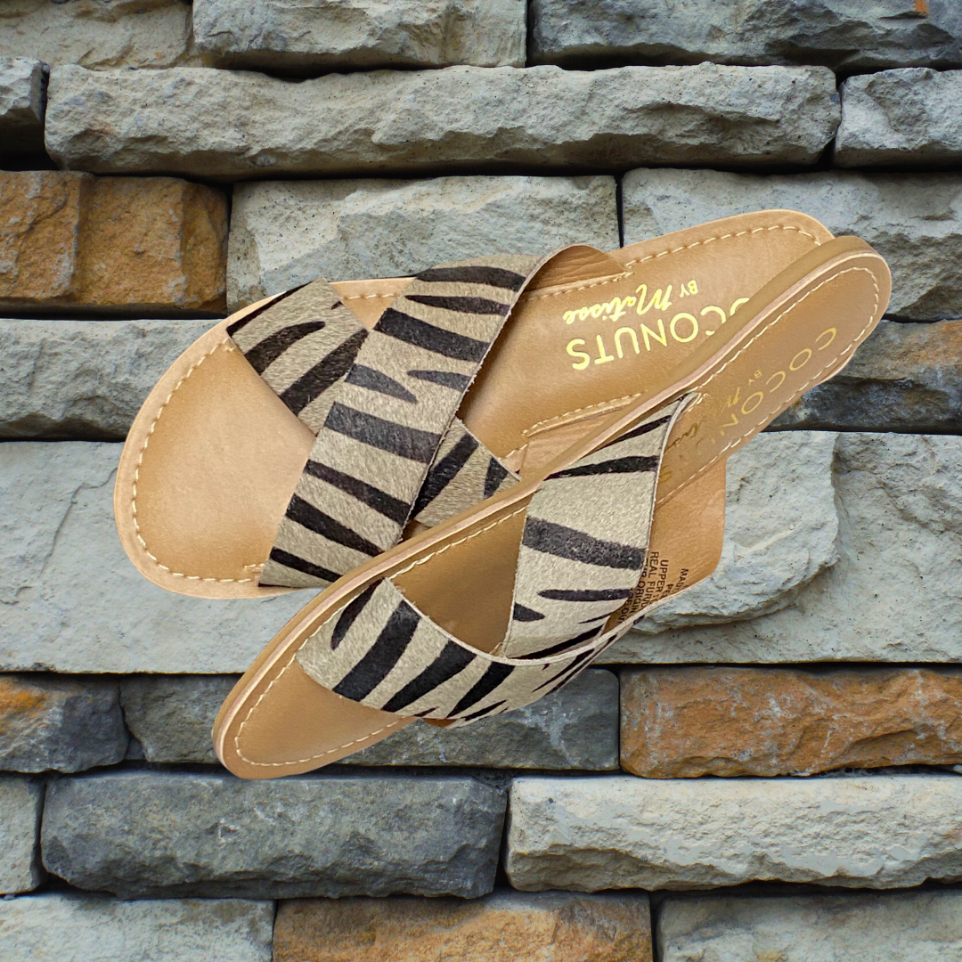 ZEBRA SLIP ON SANDALS