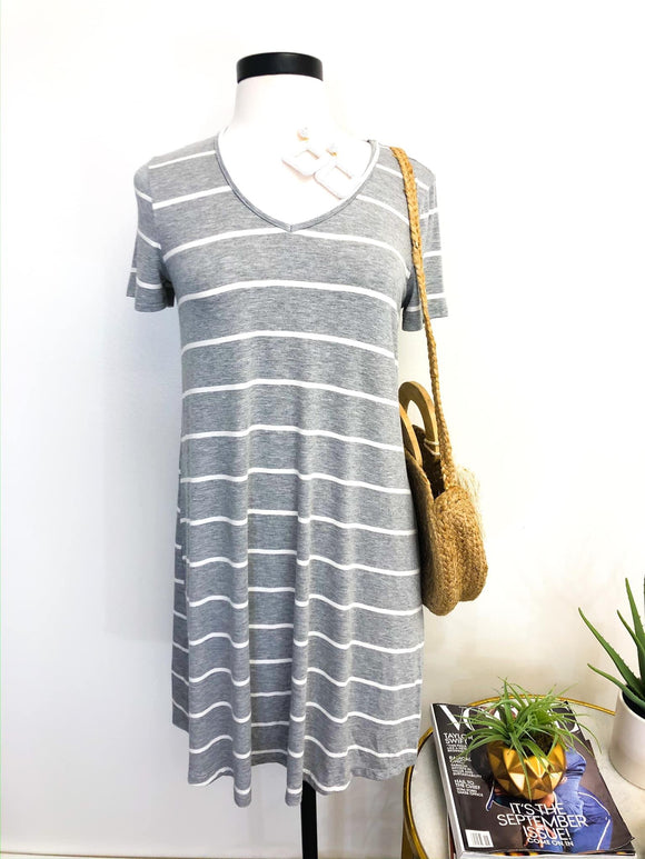 ABBY STRIPED V-NECK DRESS