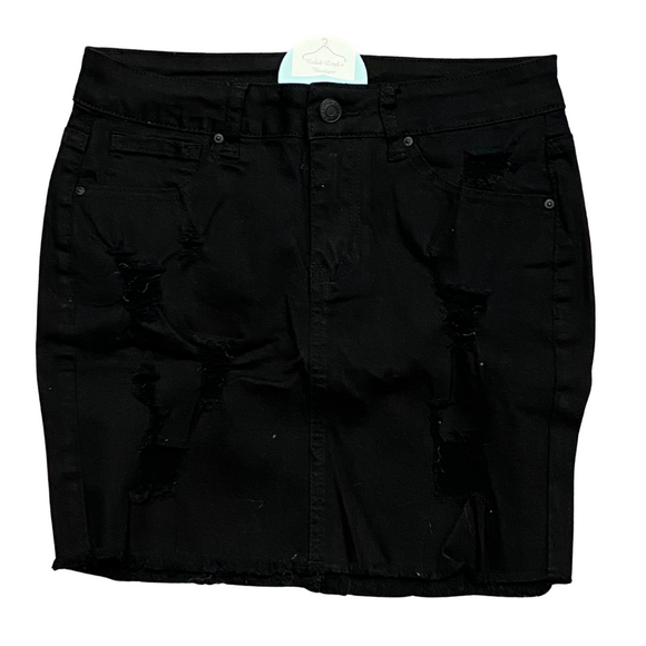 BLACK DISTRESSED MINI SKIRT