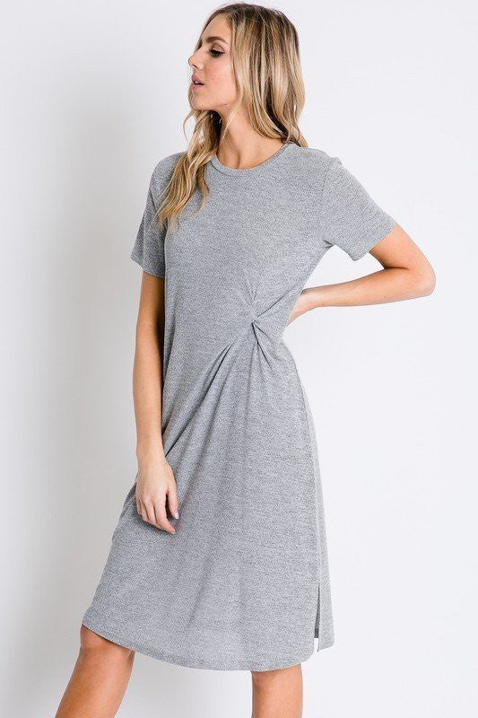 RUCHED DETAILED WAIST TEE DRESS