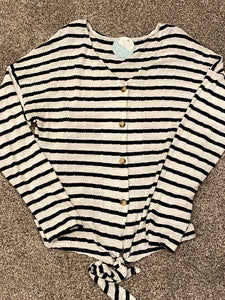 NAVY/WHITE STRIPED SWEATER TOP