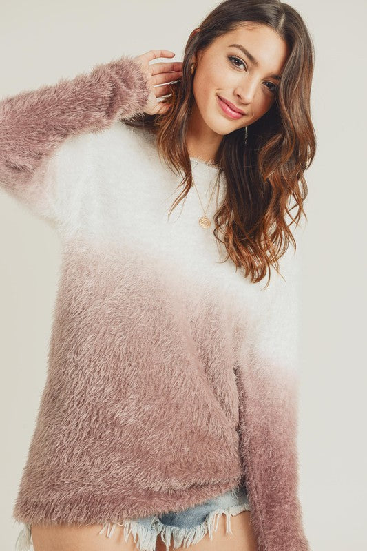 DIP DYE FURRY SWEATER