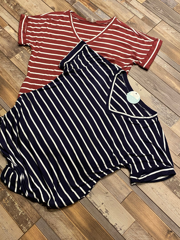 STRIPE ROLLED SHORT SLEEVE DRESS