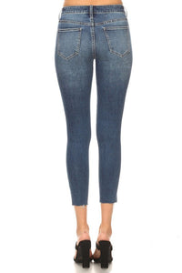 WHISKERED MID RISE SKINNIES