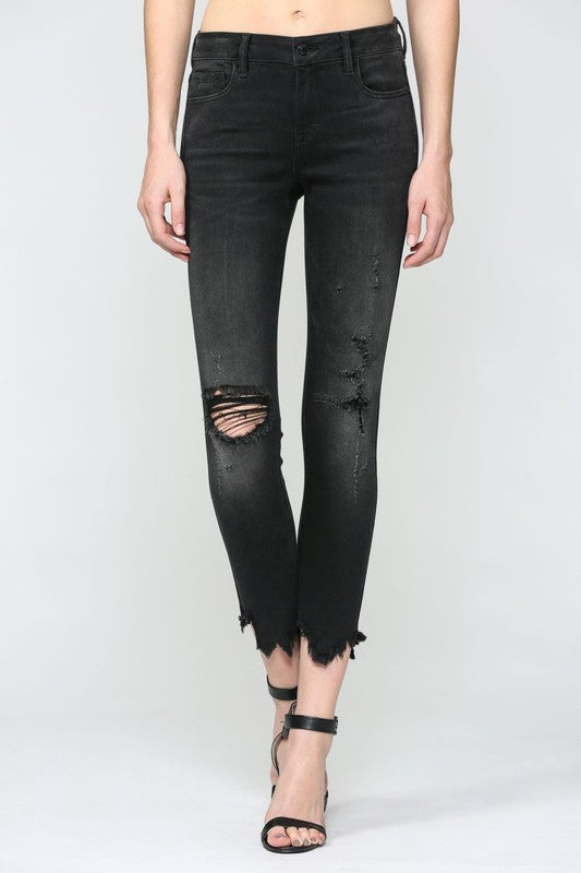 BLACK FRAYED HEM STRETCH SKINNY