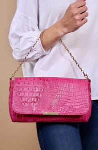 CROC CROSSBODY WITH CHAIN STRAP AND LONG STRAP