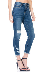 CELLO HIGH RISE SKINNY CROP WITH FRAY HEM