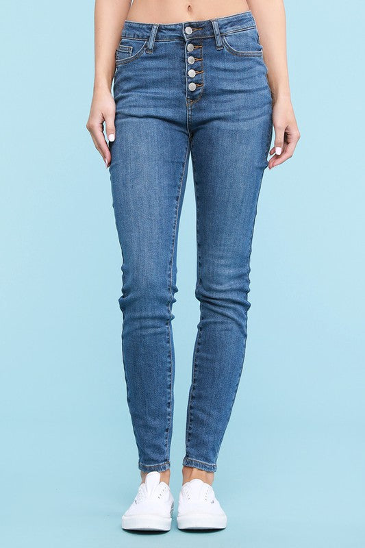 BUTTON FLY SKINNY JEANS