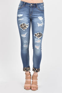 MID RISE LEOPARD PATCH SKINNY JEAN