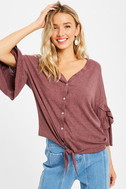 RUFFLE SLEEVE FRONT TIE V-NECK BUTTON DOWN TOP